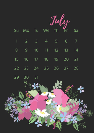 Vintage floral 2018 calendar. Illustration