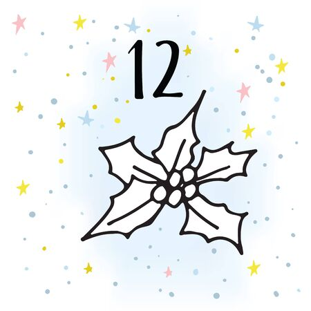 Advent calendar. Twenty-four days before Christmas. One of the parts of the calendar. Vector illustration. Ilex, number 12 Illustration