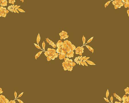 Romantic gold rose bouquet design pattern invitation template. Standard-Bild