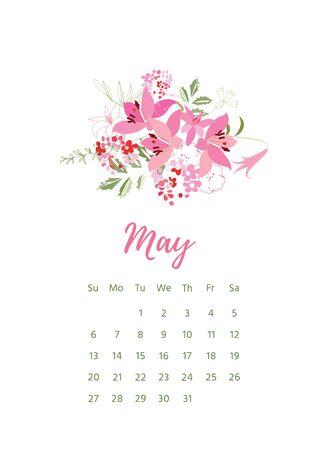 Druckfähiger 2018 Kalender mit hübschen bunten Blumen