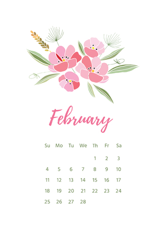 Printable 2018 Calendar with pretty colorful flowers. Vector illustration