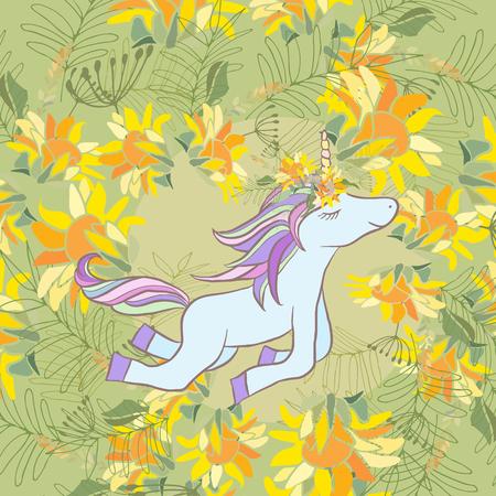Retro-Stil botanische Darstellung mit Blumen und Tier. Zarte Vektor Hintergrund mit floralen Komposition Illustration