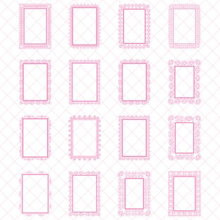 Elegant Lace Border Frames lasergeschnitten Bilderrahmen Art Sammelalbum - quadratische rosa Spitzen Rahmen und Rechteckrahmen Quadrat und Rechteck