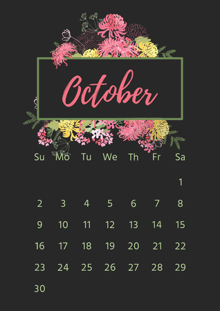 Vintage floral calendar 2018 with bouquet of flowers.