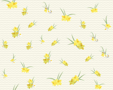 Floral Narzisse Retro-Vintage-Hintergrund, Vektor-Illustration Illustration