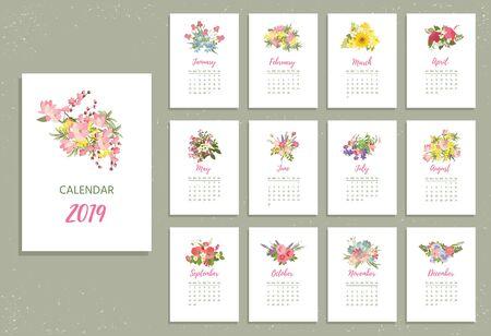 Druckbarer Kalender 2019 mit hübschen bunten Blumen