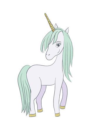 Illustration with a magic animal unicorn. Vector illustration