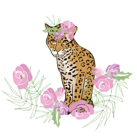Retro style Illustration with flowers and animal.