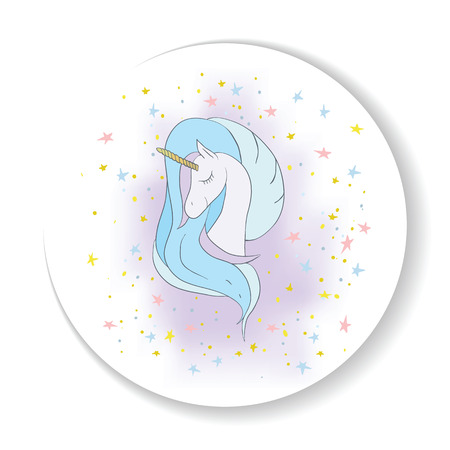 Illustration with a cute mystic unicorn animal. Magic, fantasy, party, childrens game, learning the theme design element. Vector illustration Illustration