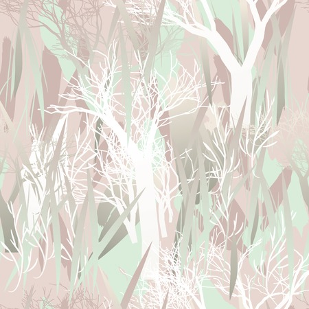 Military camouflage texture with trees, branches, grass and watercolor stains. Illustration