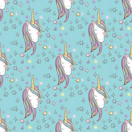 Unicorn rainbow seamless pattern.