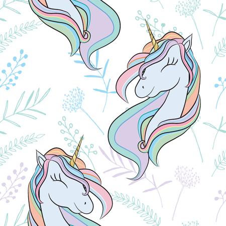 Illustration with cute mystic unicorn animal