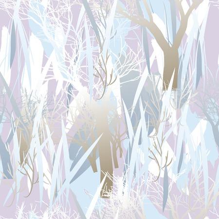 Textura de camuflaje militar con árboles, ramas, hierba y manchas de acuarela.