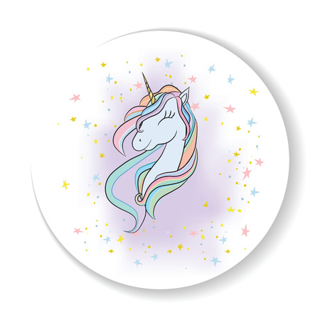 Illustration with a cute mystic unicorn animal. Magic, fantasy, party, children's game, learning the theme design element. Vector illustration Illustration