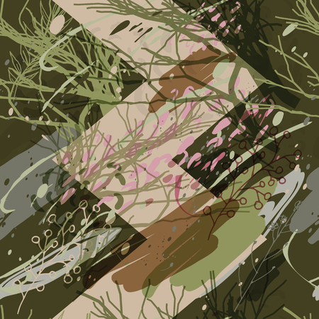 Military camouflage texture with trees, branches, grass and watercolor stains. Vector illustration. Camouflage military background in modern style.