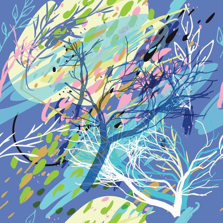 Textura de camuflaje militar con árboles, ramas, hierba y manchas de acuarela. Ilustración vectorial Fondo militar de camuflaje en estilo moderno.