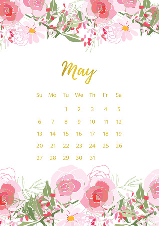 Vintage floral calendar 2018 with bouquet of flowers. illustration. Stock Photo