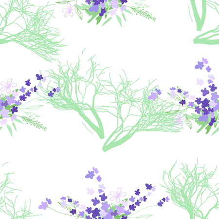 Seamless pattern with summer flowers and leaves on a white background