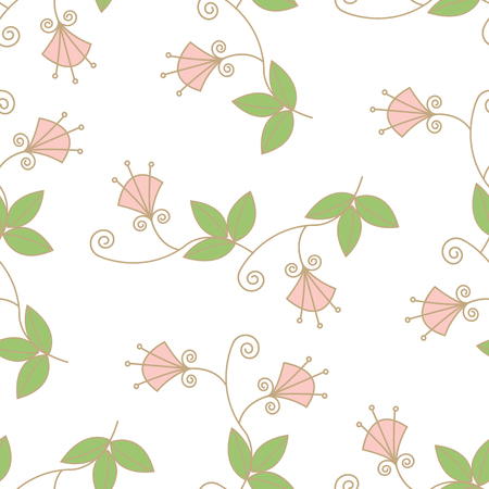 Hand-painted Trendy Seamless Floral Pattern. Vector Illustration of decorative floral design for wedding invitations and greeting cards.