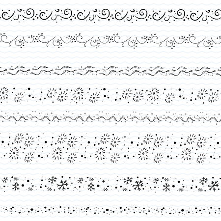 Hand drawn doodle borders frames Christmas Decor clip art