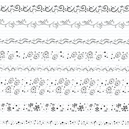 Hand drawn doodle borders frames Christmas Decor clip art