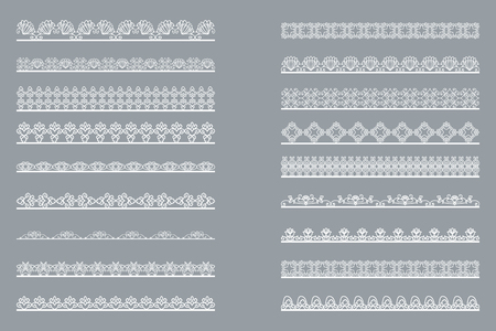 Set of horizontal isolated White lace borders for design. Patterned elegant beautiful edge. Vector illustration 일러스트