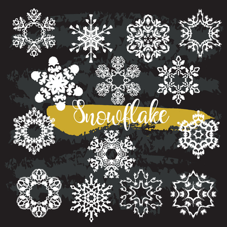 Frozen Snowflake ClipArt black color, Winter Clip Art, Intricate SnowFlakes, Christmas ClipArt, Printable Digital Stamp, Vector White color 일러스트