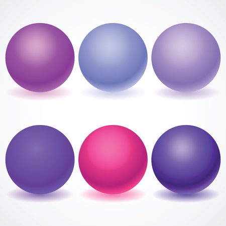 Set of multicolored spheres Balls, Pills, Capsules, Glass with shadows on a white background