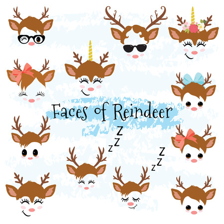 Christmas Decor Reindeer Faces Clipart Cute baby deer clip art Vector File