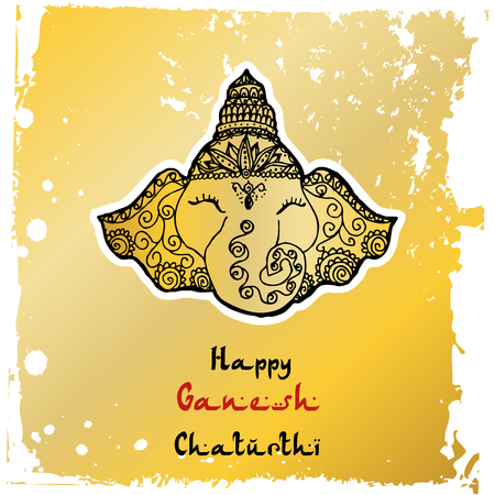 Festive illustration of the birthday of the Indian God Ganesha Foto de archivo