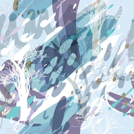 Texture de camouflage militaire avec des arbres, des branches, de l'herbe et des taches d'aquarelle. Illustration vectorielle. Fond militaire de camouflage dans un style moderne.