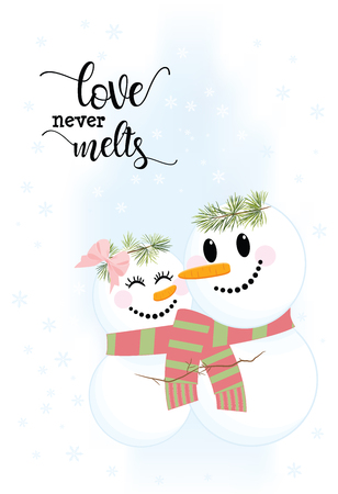 Illustration of two cute snowmen in love holding hands. Love Never Melts