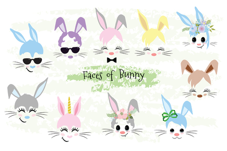 Happy Easter Bunny face Clipart brown, gray, blue, pink, purple, violet bunny animal hipster Unicorn Little Mister Miss. Easter gift 일러스트