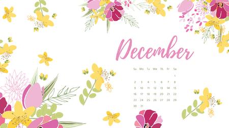 Vintage floral calendar 2018 with bouquet of flowers. Vector illustration.