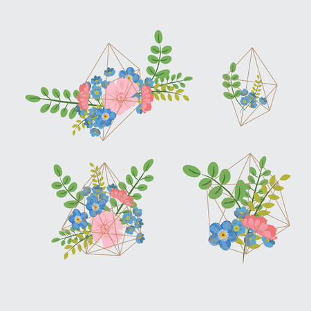 Creative card with geometric contour crystal and a bouquet of flowers