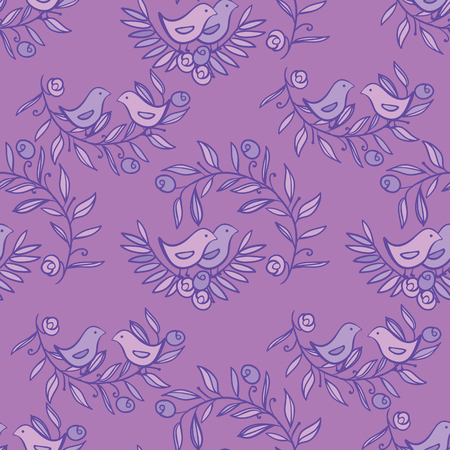 Vintage Floral Seamless Background with Birds, Vector watercolor Illustration Ilustracja