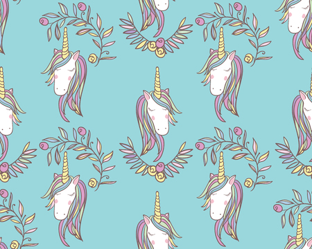 Unicorn Rainbow seamless pattern - girls scrapbook paper. Perfect for wrapping presents, scrapbook pages, cards, party decorations, bookjournal cover, product design, apparel, planners, invitations Ilustracja