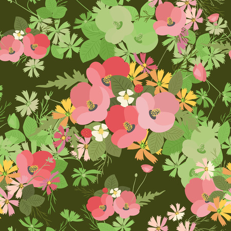 Floral poppy and cosmos strawberries background vector illustration. Sprig of mimosa, flowers and leaves of sakura, cherry and magnolia, spring background, floral greeting card
