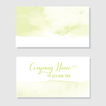 Hand Painted Art Of Watercolor Paint On Watercolor Paper. Abstract Business card , Vector Illustration Background Ilustracja