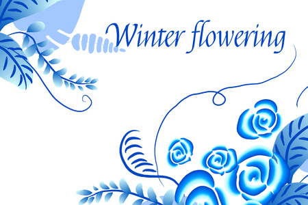 Winter flowering Abstract vector floral background, pattern with folk art flowers, blue white gzhel ornament. Can be used for banner, card, poster, invitation, label, menu, page decoration or web design Ilustracja