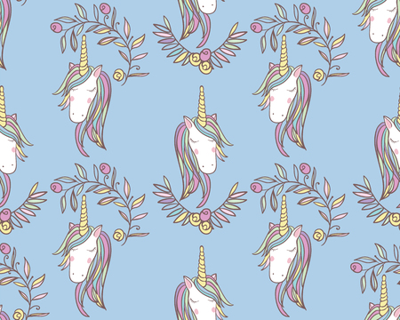 Unicorn Rainbow seamless pattern - girls scrapbook paper. Perfect for wrapping presents, scrapbook pages, cards, party decorations, bookjournal cover, product design, apparel, planners, invitations Иллюстрация