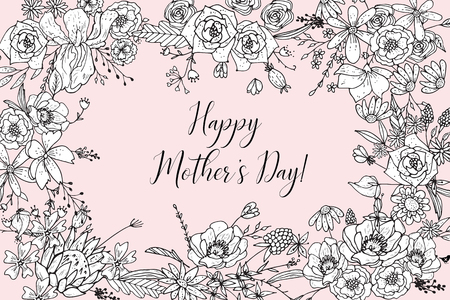 Mother's Day Greeting Card Template. Happy Mothers Day Formulation Of A Sketch Line Flowers Hand Drawn Black Color. Decorative Doodle Frame Of Flowers For Coloring.