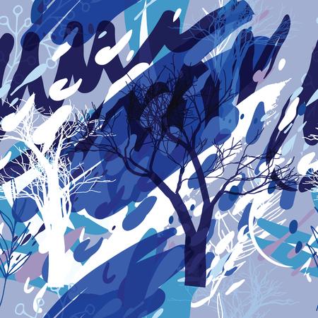Textura de camuflaje militar con árboles, ramas, hierba y manchas de acuarela. Ilustración vectorial Fondo militar de camuflaje en estilo moderno. Ilustración de vector