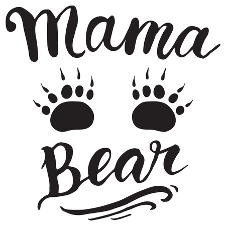 Vector Greeting Card For Gift Tag Decor. Mama Bear