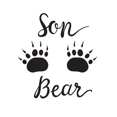Vector Greeting Card For Gift Tag Decor. Son Bear