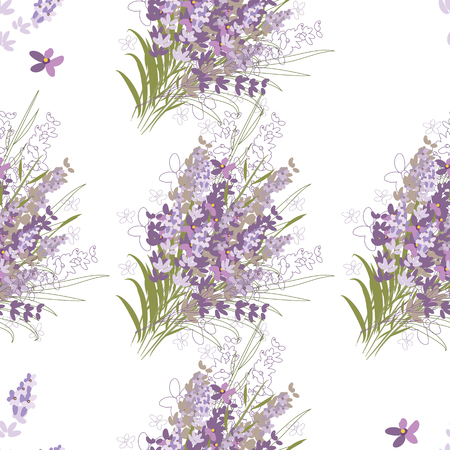 Seamless vector floral pattern with lavender flowers in the flat and a sketch style. Outline style vector illustration.