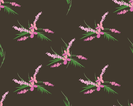 Seamless vector floral pattern with lavender flowers Stock Photo