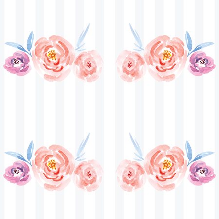 Hand-painted watercolor floral rose Pattern. Illustration of decorative floral design for wedding invitations and greeting cards.