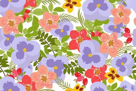 Floral  pansy, rose background vector illustration Illusztráció