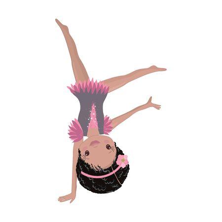 Clipart Cute African American Girl Gymnast Gym. Vector Illustration: Beautiful Cute Little Gymnast. Vektorové ilustrace